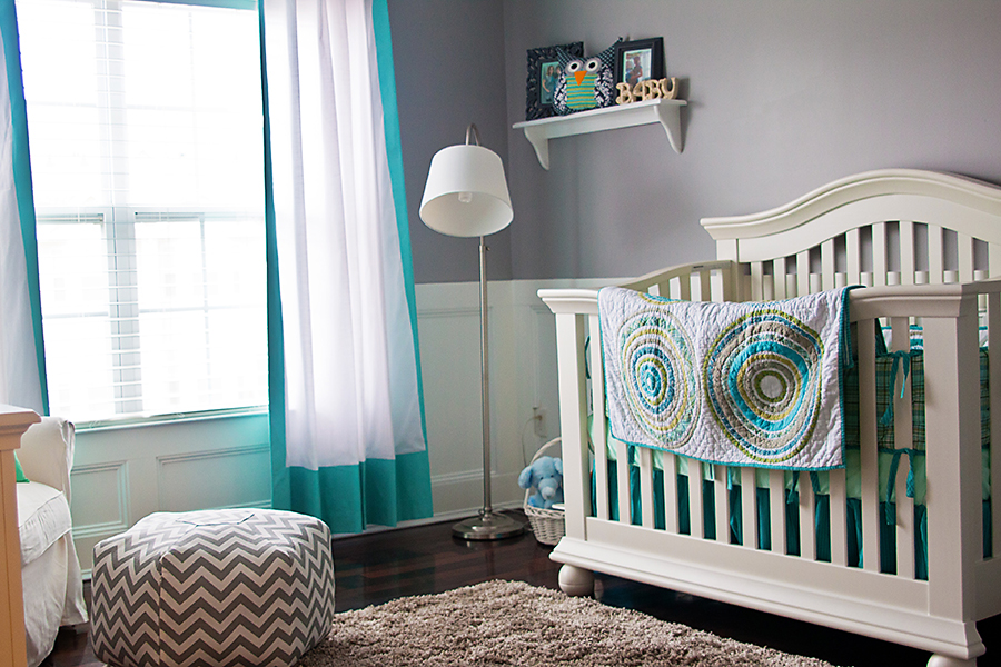 Picture of: chevron nursery pouf