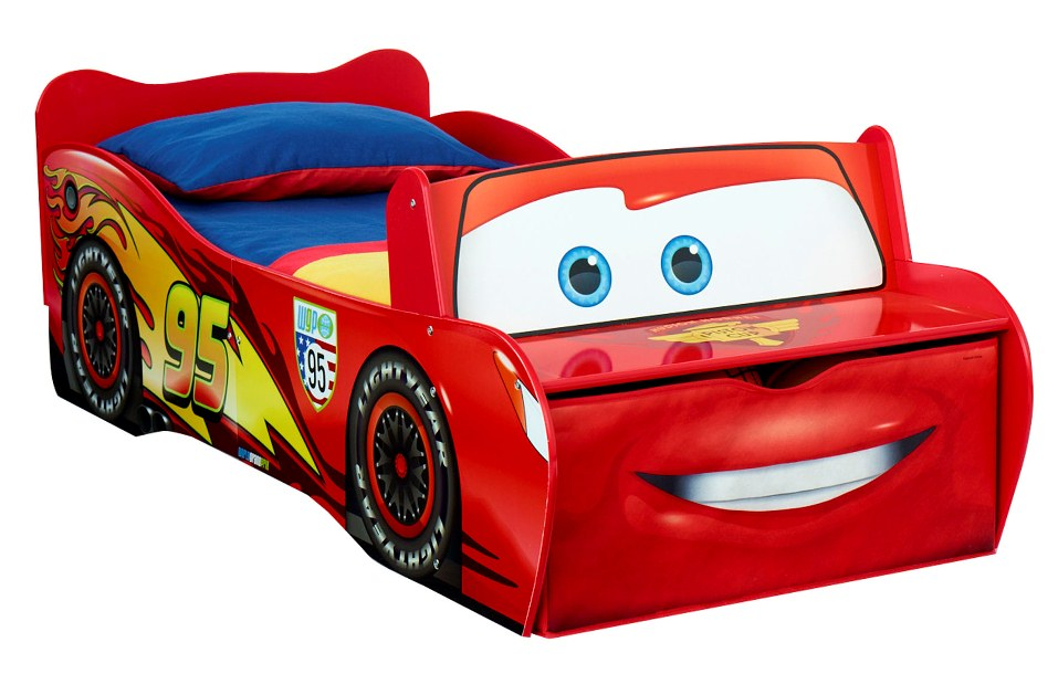 Picture of: Cartoon Race Car Toddler Bed
