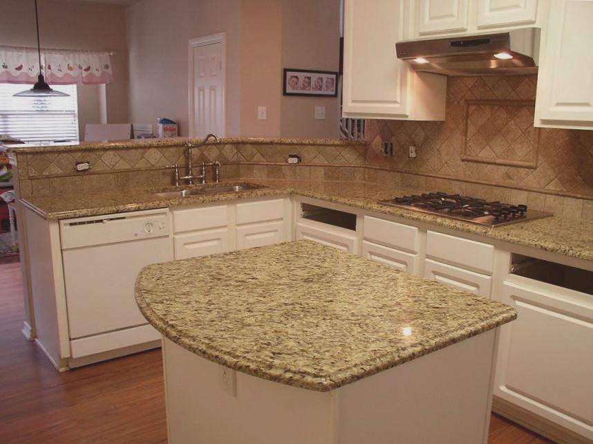 Image of: Venetian Gold Granite Countertops And Tile Backsplash
