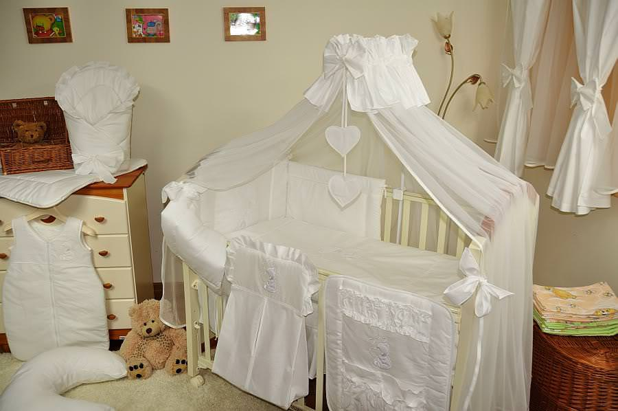 Picture of: White Baby Crib Canopy Set