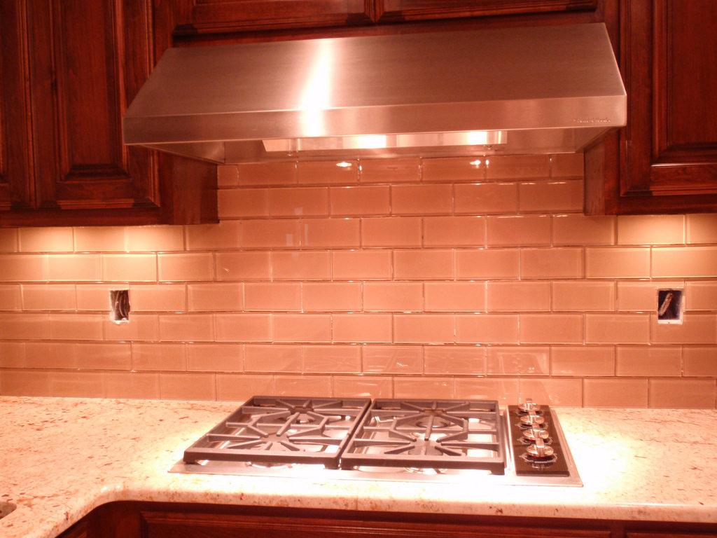 Image of: Glass And Subway Tile Backsplash