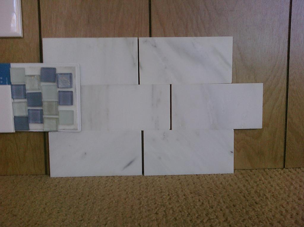 Image of: Glass Subway Tile Backsplash Installation
