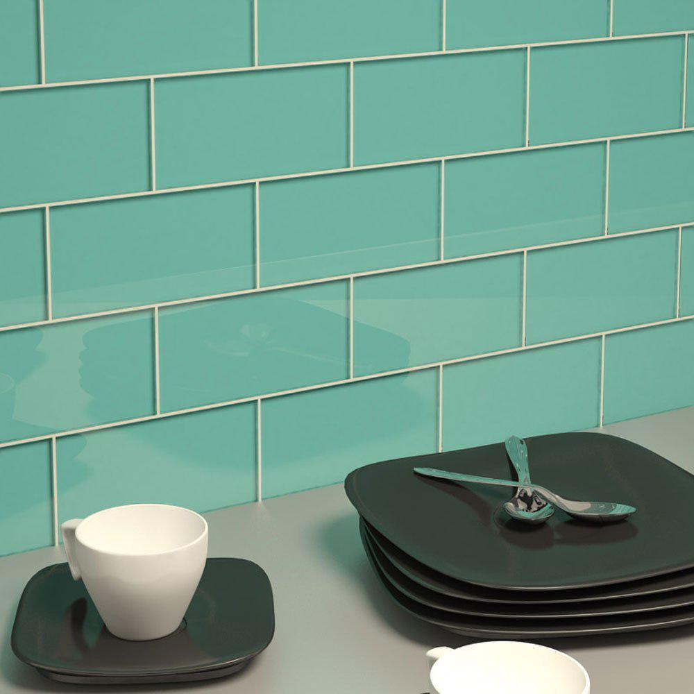 Image of: Glass Subway Tile Bathroom