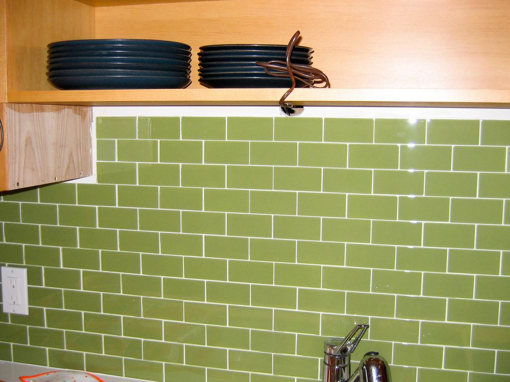 Image of: Glass Subway Tile Grey