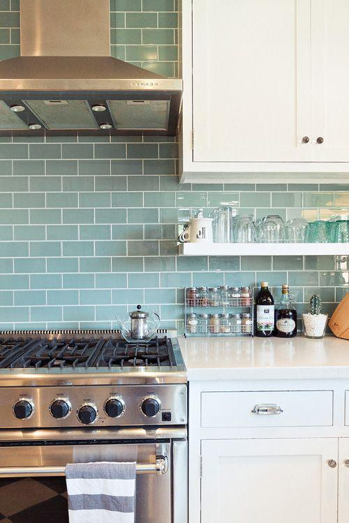 Image of: Glass Subway Tile Kitchen