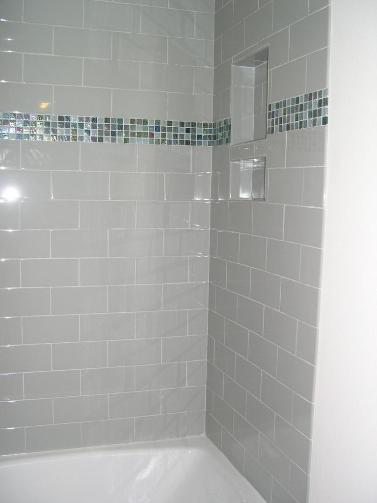Picture of: Glass Subway Tile Taupe