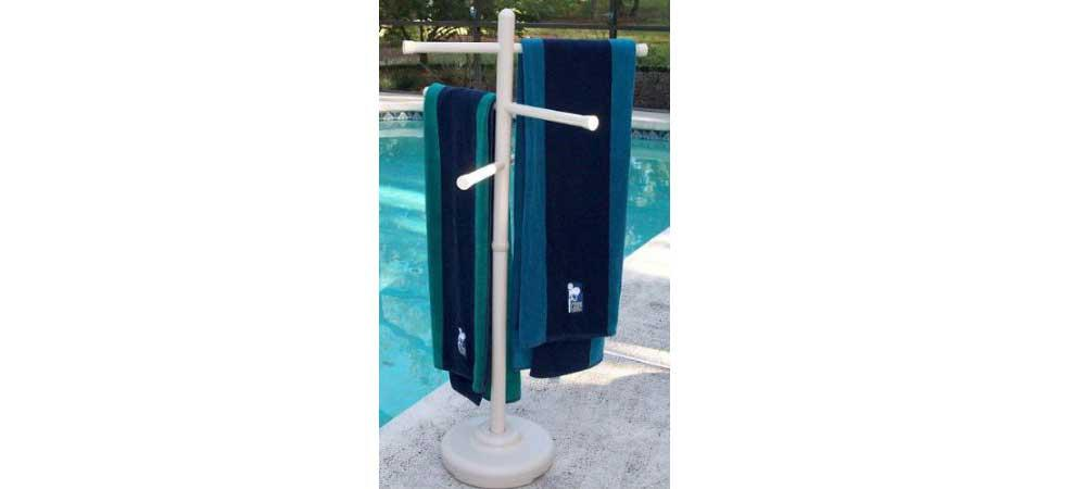 Picture of: Pool Towel Rack With Shelf