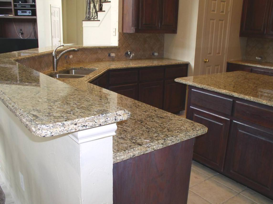 Image of: Venetian Gold Granite And Backsplash