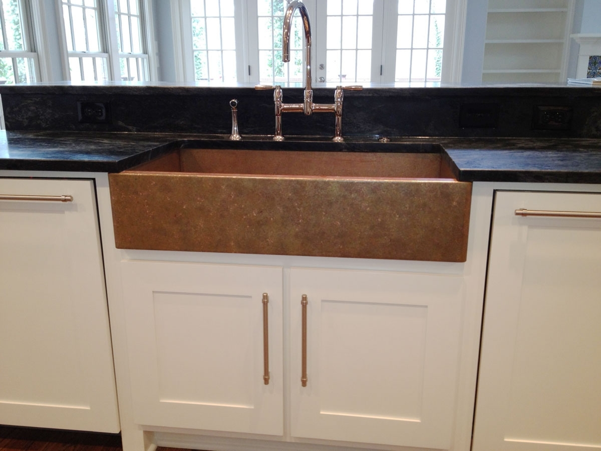 Image of: Copper Farmhouse Sink Care