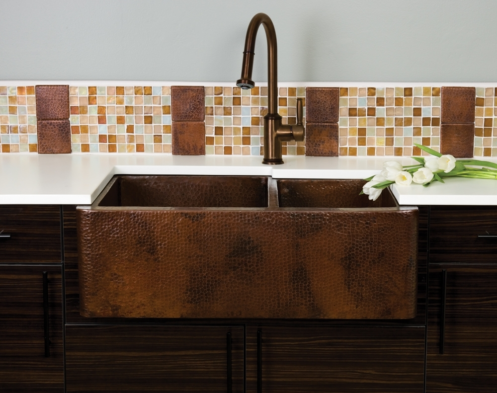 Copper Farmhouse Sink With Backsplash