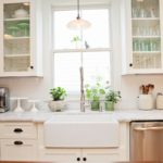 Copper Farmhouse Sink With White Cabinets