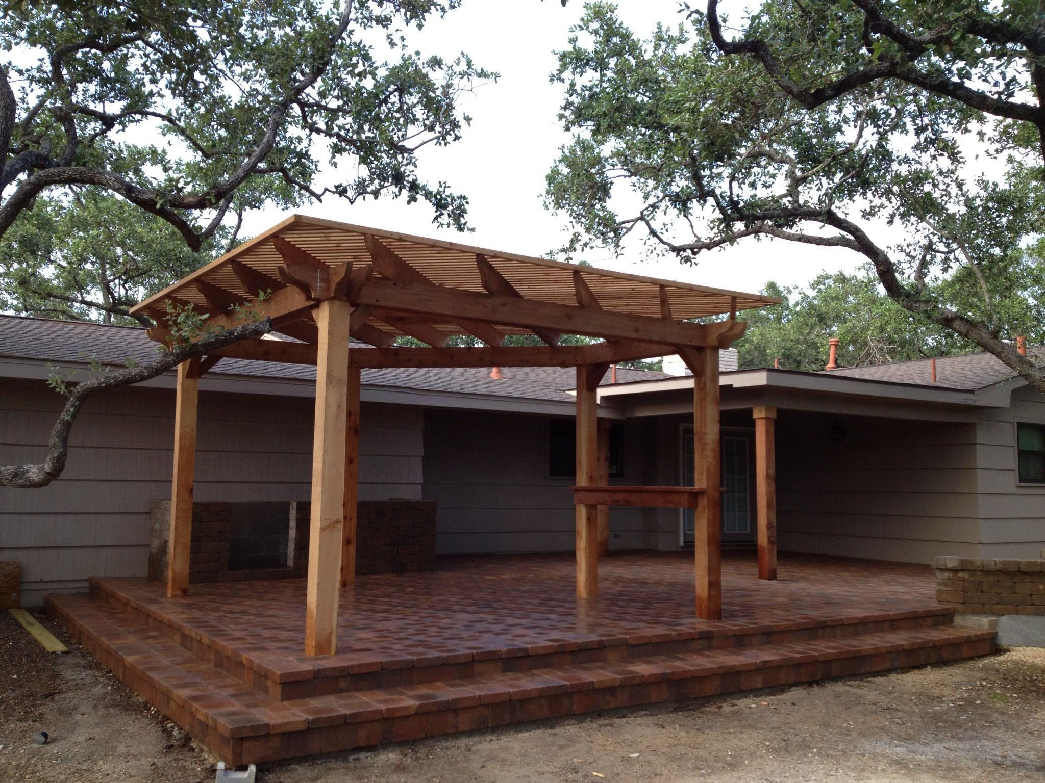 Picture of: Cedar Pergola Attached To House