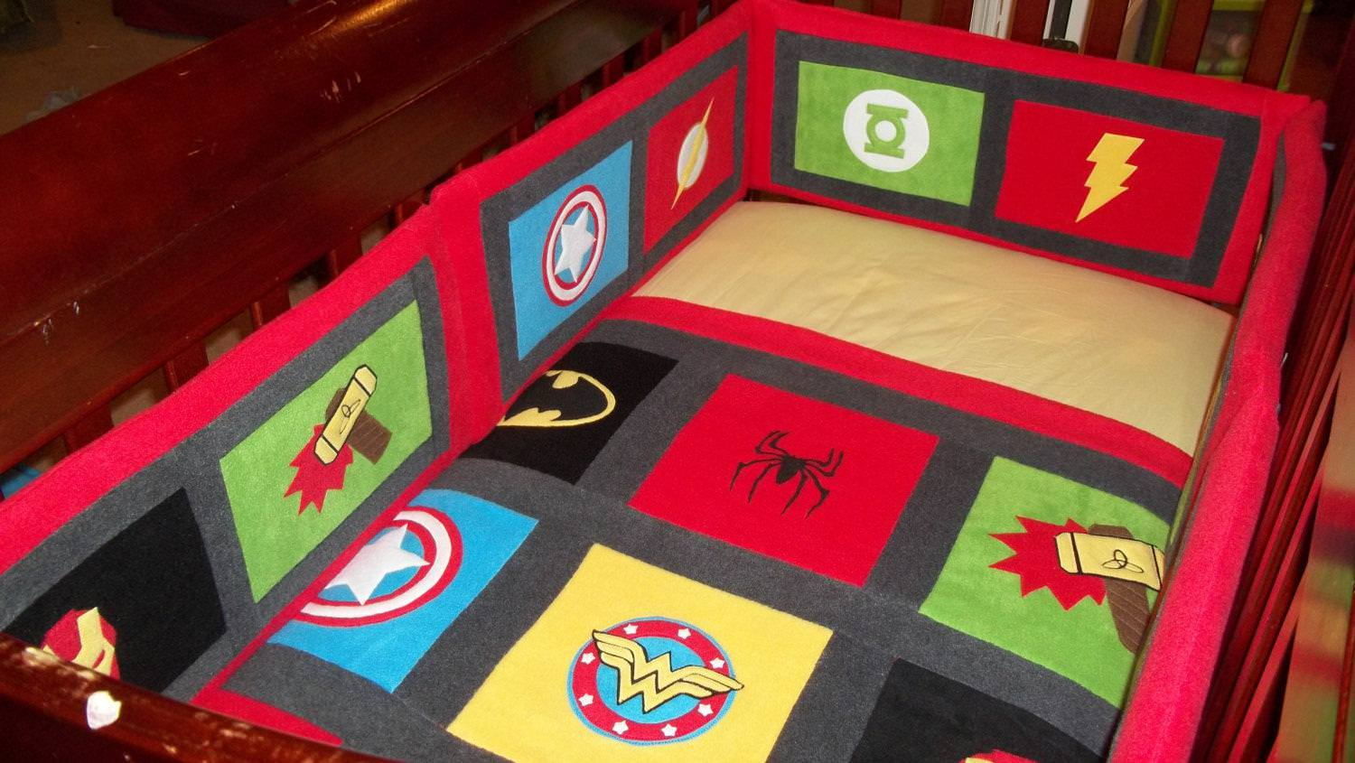 Picture of: Superhero Crib Bumper