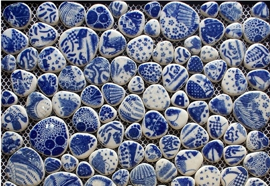 Image of: Blue Pebble Tile