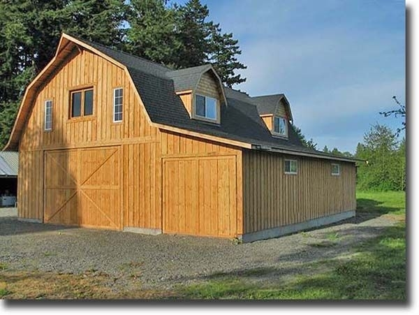 Image of: Gambrel Roof Barn Plans