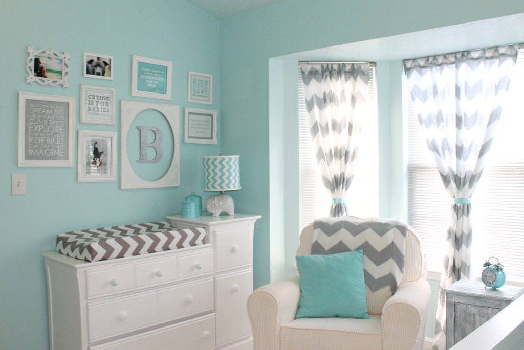 Aqua And Grey Nursery Decor