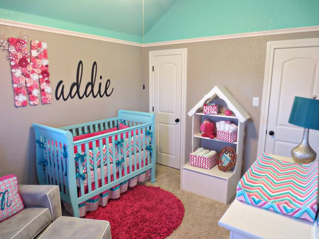 Image of: Aqua And Pink Decoration Nursery Ideas