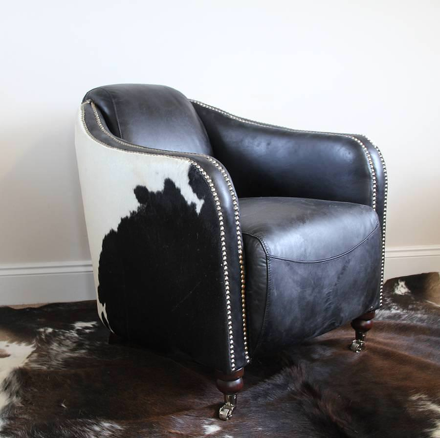 Image of: Black And White Cowhide Chairs