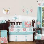 Coral And Turquoise Nursery Bedding