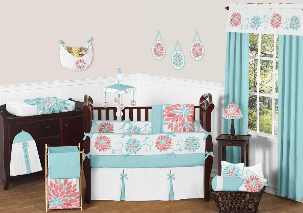 Image of: Coral And Turquoise Nursery Bedding