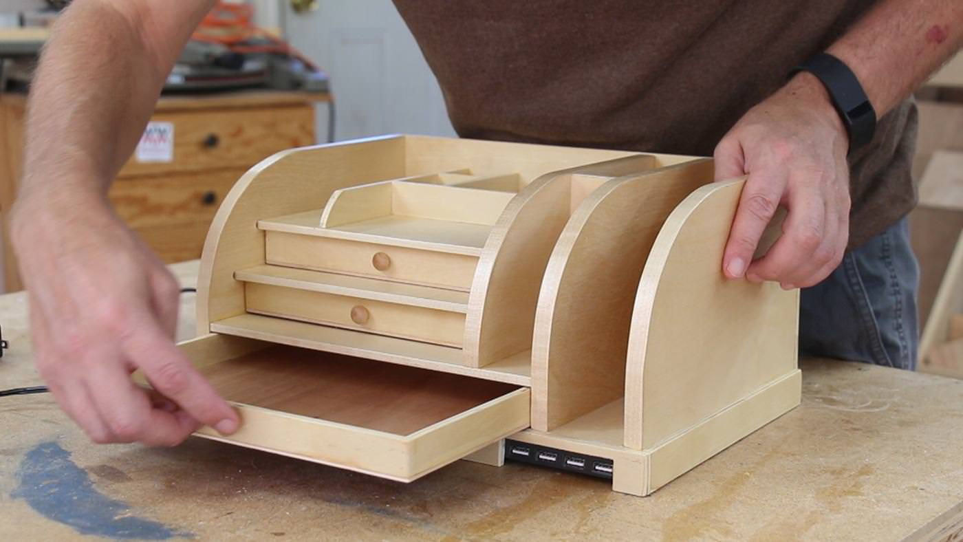 Image of: Electronic Charging Station Desk Organizer