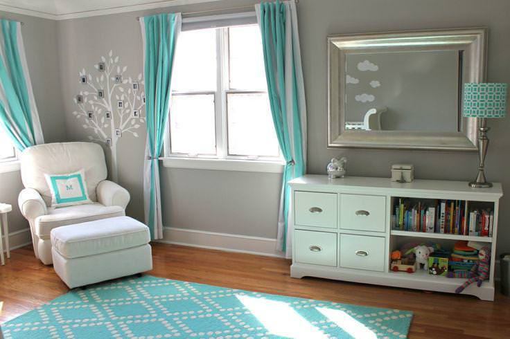 Image of: Grey And Teal Nursery Bedding