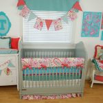 Pink And Aqua Crib Bedding