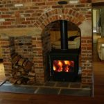 Used Double Sided Wood Burning Fireplace Example