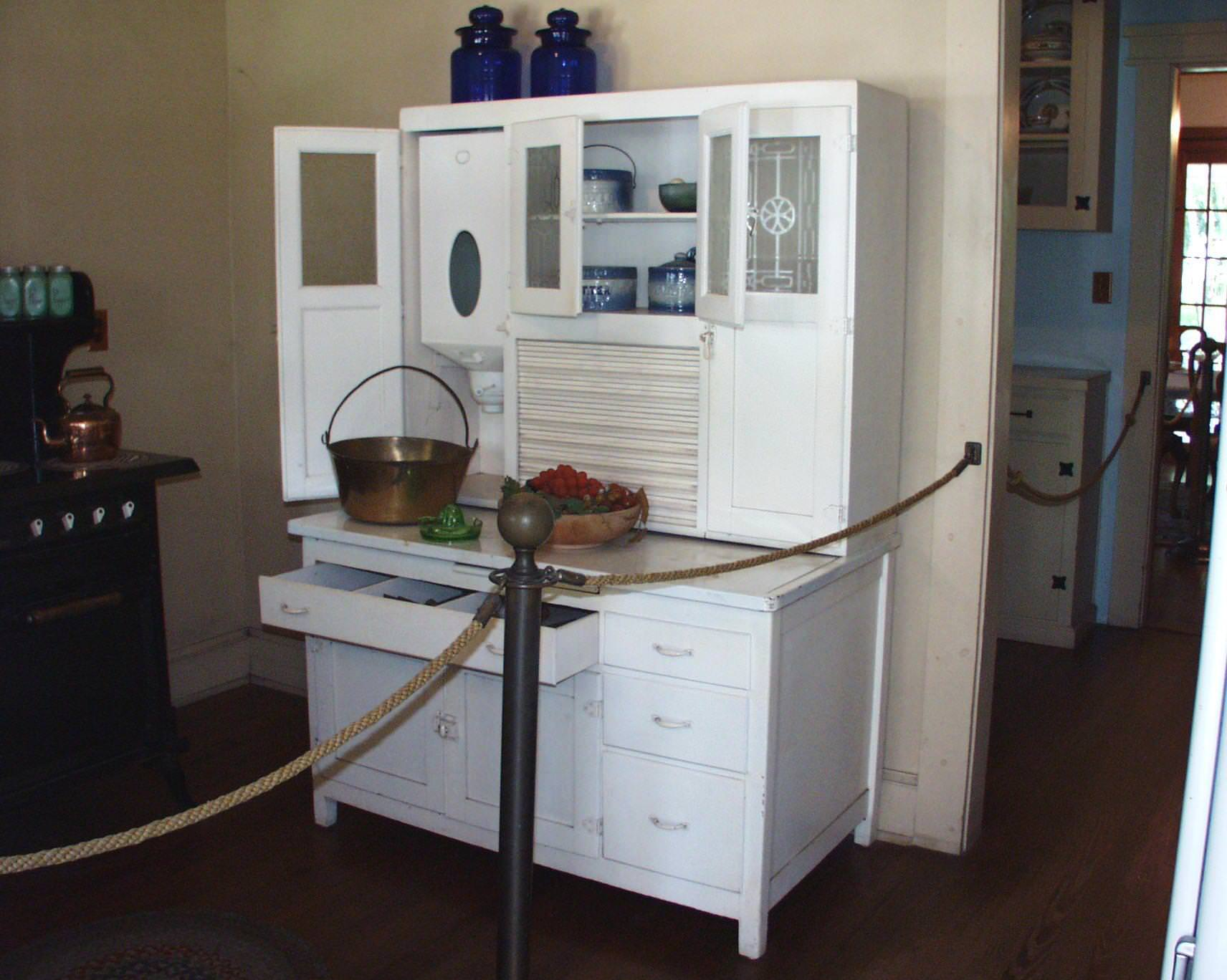 Image of: White Hoosier Cabinet Reproduction