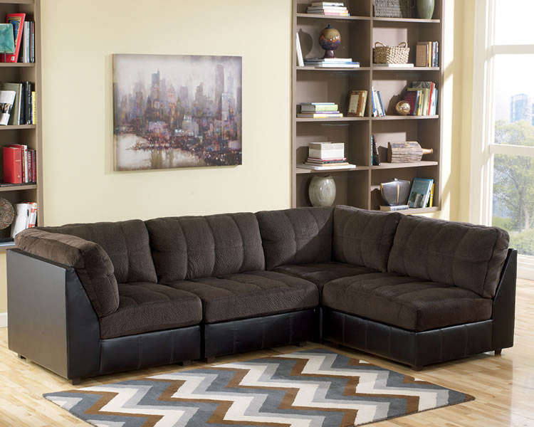 Picture of: Black modular sectional sofa