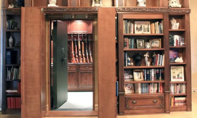 Picture of: Bookcase hidden gun cabinet