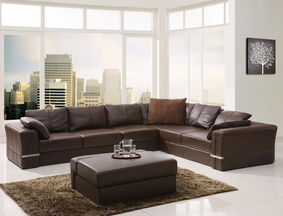 Image of: Best Buy Contemporary Modern Brown Sectional Sofa