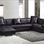 Contemporary black leather soft sectional sofa
