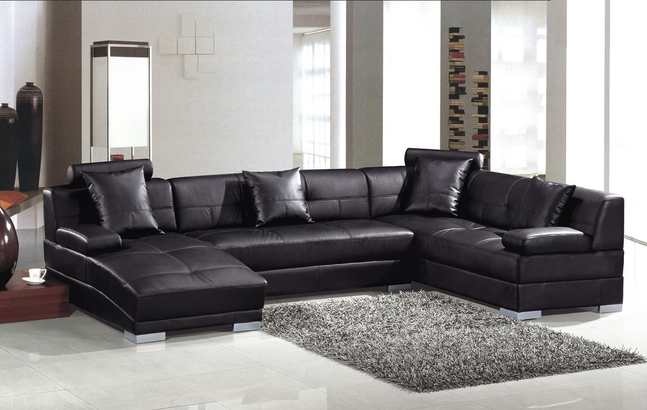 Image of: Affordable Contemporary black leather soft sectional sofa