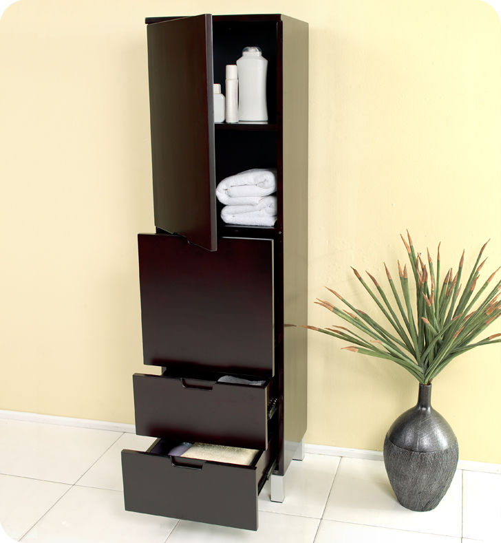 Image of: Espresso bathroom linen cabinets