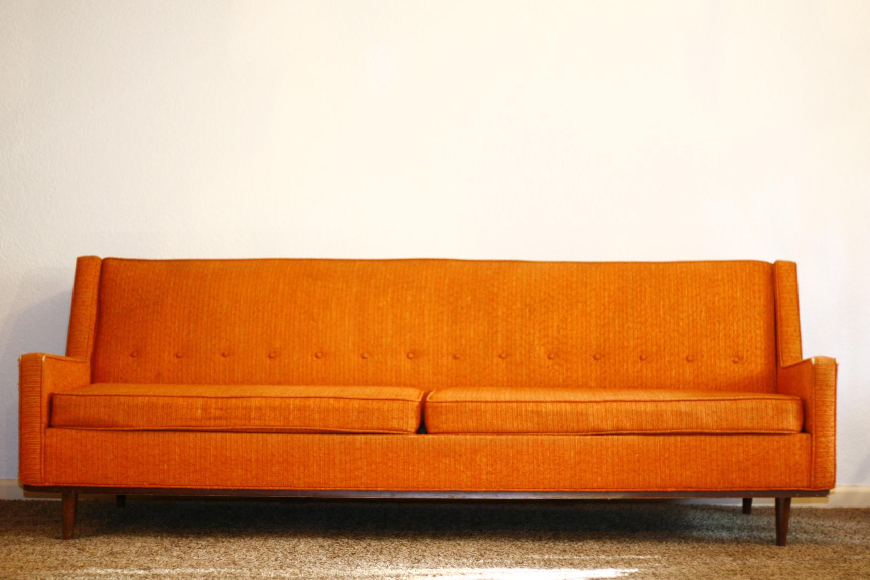 Image of: Orange Mid Century Sofa