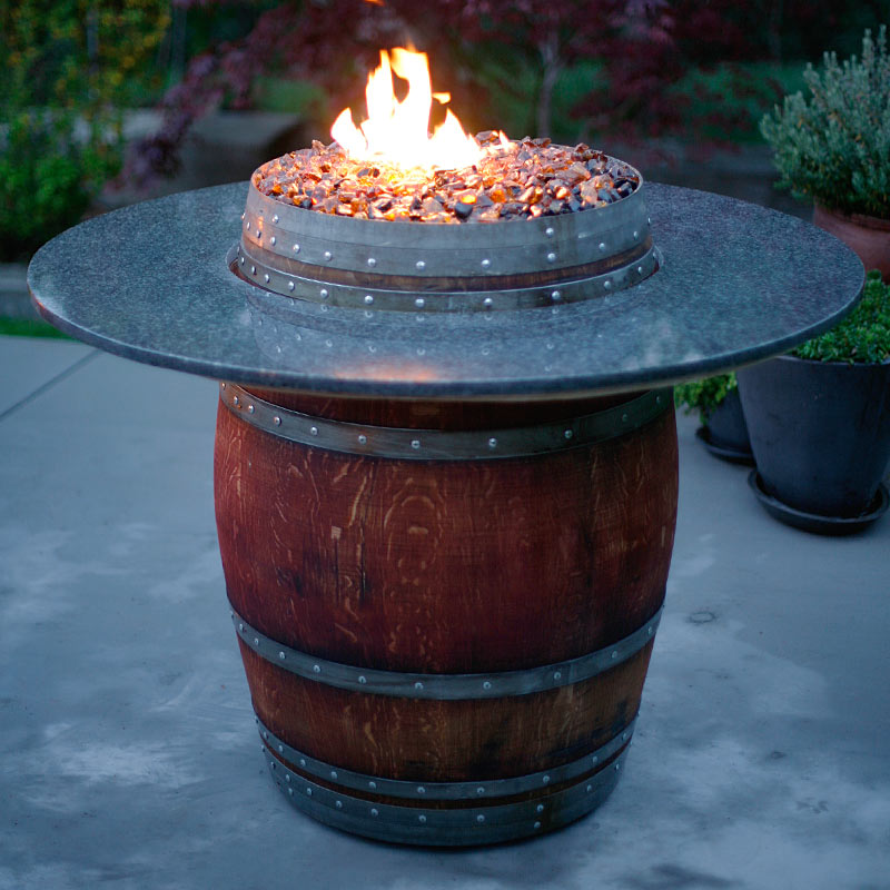 Image of: The Grand Wine Barrel Fire Pit Table
