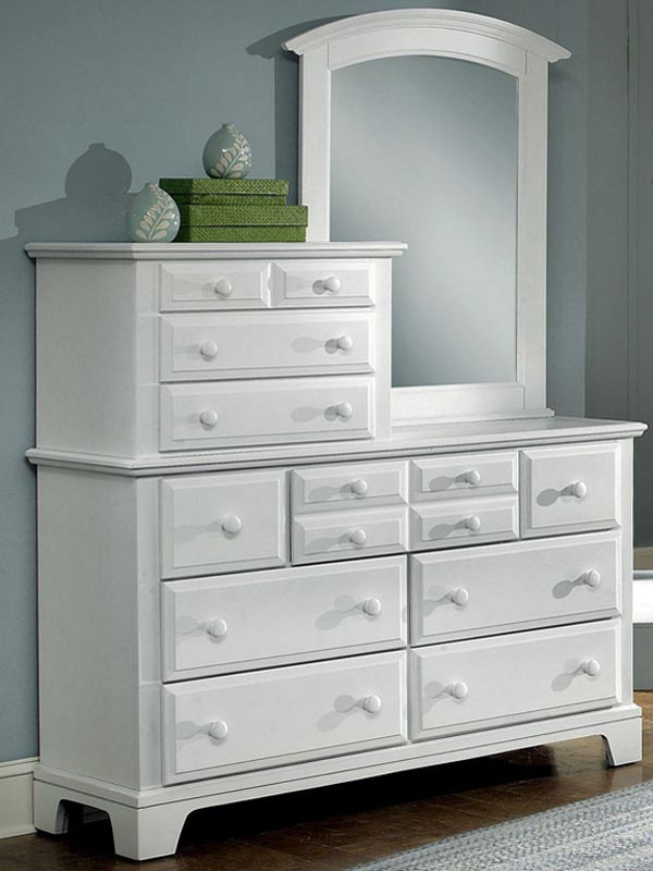 White Dresser with Mirror images