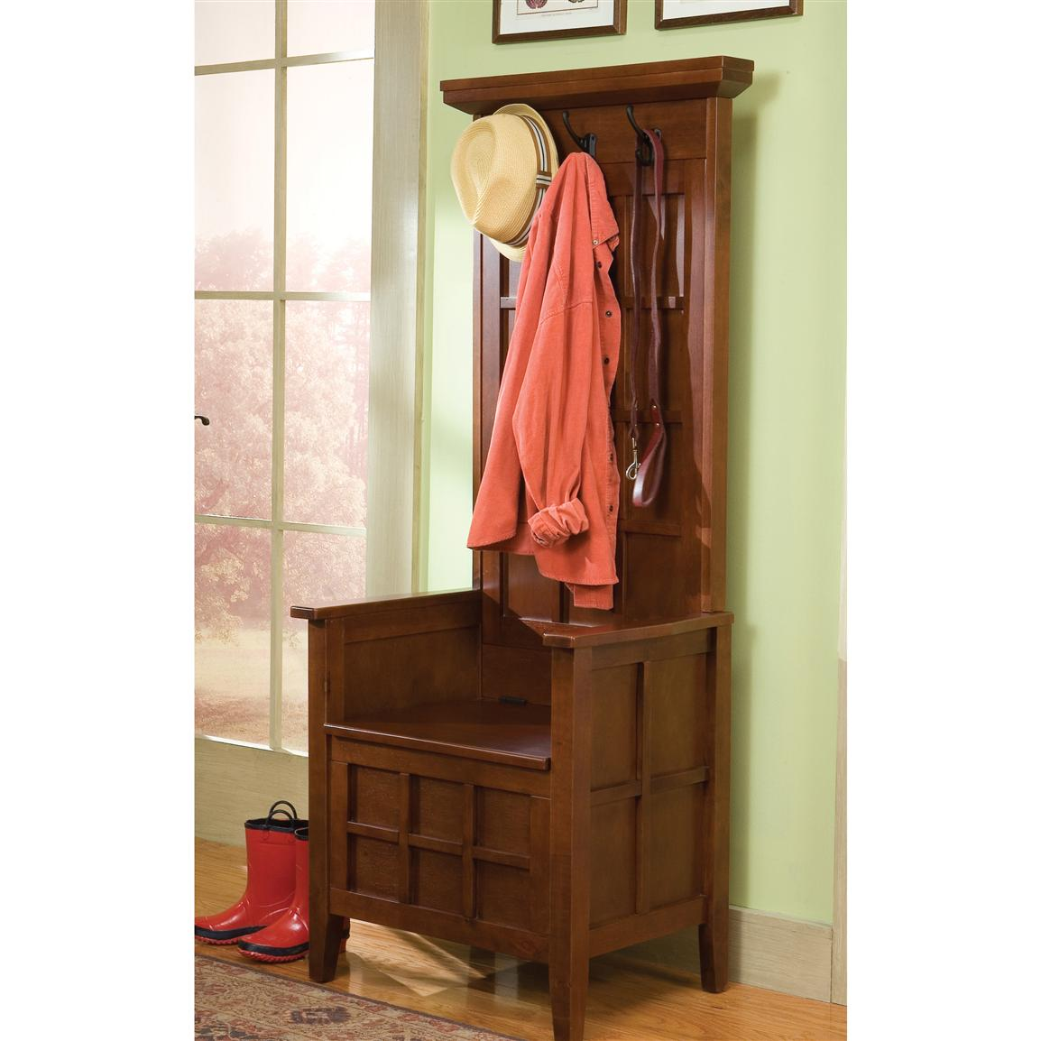 Picture of: Wooden Hall Tree Storage Bench