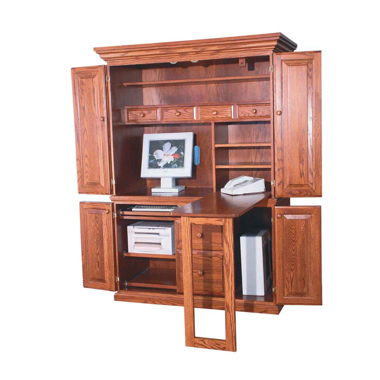 Image of: Wooden desk armoire