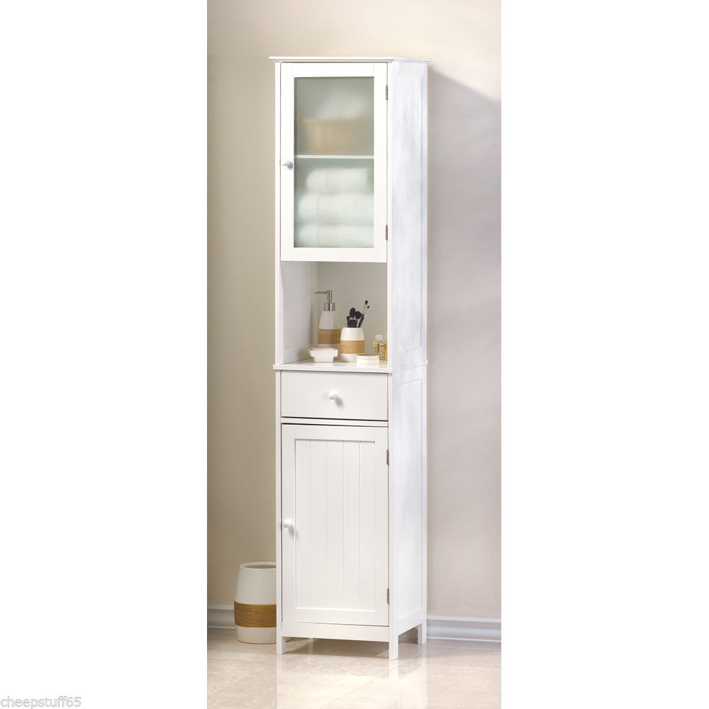Image of: bathroom linen cabinets white