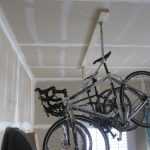 bike rack garage with hanging bikes