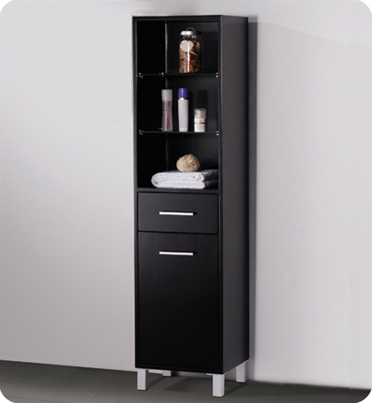 Image of: black bathroom linen cabinets