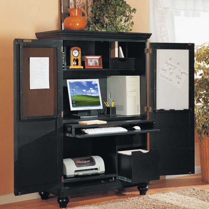 Image of: black desk armoire