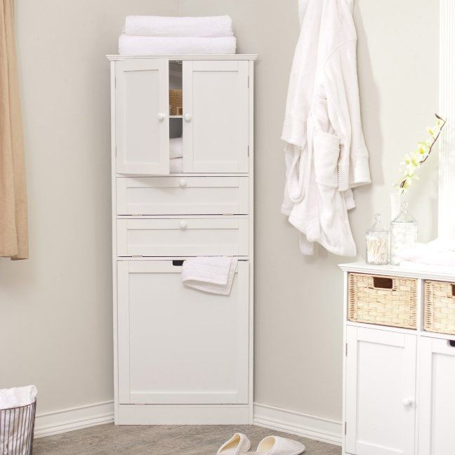 Image of: corner bathroom linen cabinets