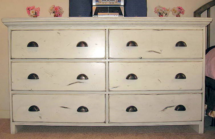 Picture of: cream distressed dresser
