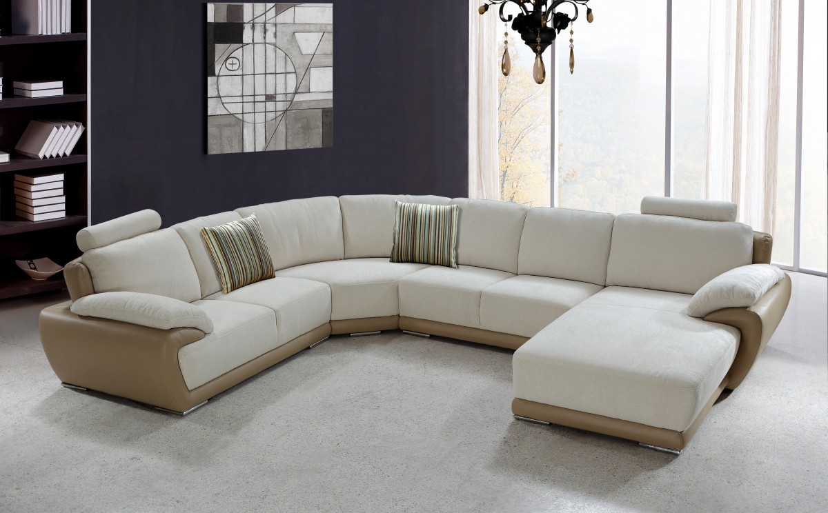Picture of: living room with white sectional sofa