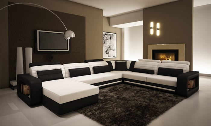 Picture of: modern white sectional sofa