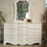 vintage White Dresser with Mirror