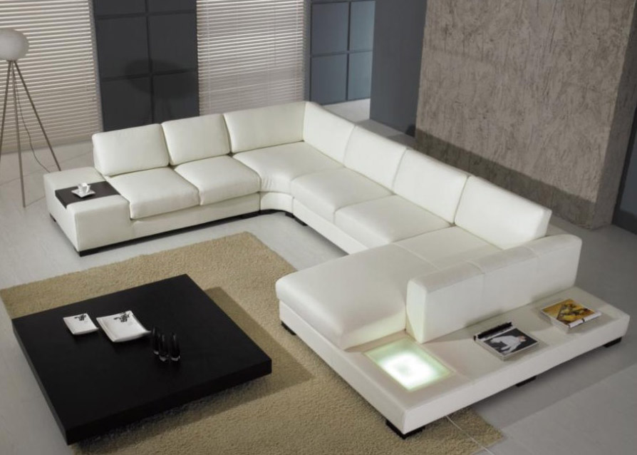 Image of: white modern leather sectional sofa couch